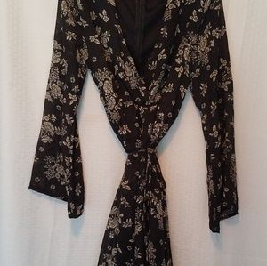 Belle sleeve Black and White floral Wrap dress